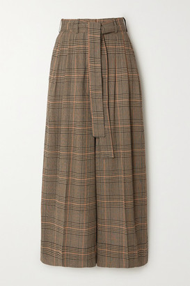 By Malene Birger Dinard Cropped Prince Of Wales Checked Crepe Wide-leg Pants - Camel