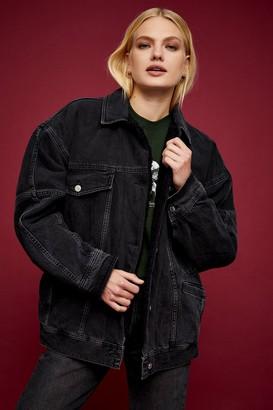Topshop Washed Black Denim Oversized Borg Lined Jacket