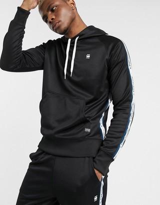 G Star G-Star Alchesai taped hoodie in black