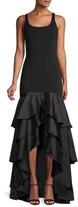 Carmen Marc Valvo Crepe Tiered Gown
