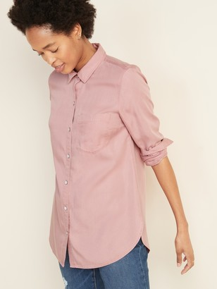 Old Navy Pigment-Dyed Tencel Long-Sleeve Shirt for Women