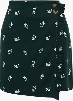 Baum und Pferdgarten Jelena Ruffle-trimmed Floral-print Jersey Mini Wrap Skirt
