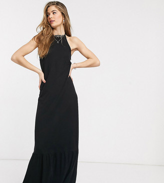 Asos Tall ASOS DESIGN Tall square neck halter maxi dress with pep hem in black