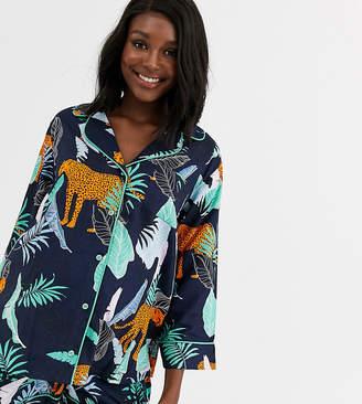 Asos DESIGN Maternity botanical tiger shirt & short 100% modal pyjama-Blue