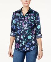 Karen Scott Petite Floral-Print Cotton Shirt, Only at Macy's