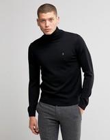 Farah Jumper In Merino Wool With Roll Neck In Slim Fit Black