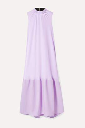 Tibi Draped Crepe And Cady Midi Dress - Lilac