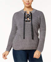 INC International Concepts Plus Size Lace-Up-Neck Sweater, Created for Macy's