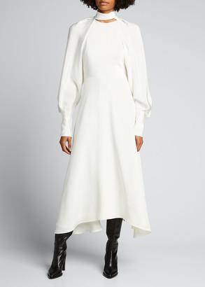 Victoria Beckham Cutout-Back Midi Silk Dress