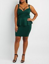 Charlotte Russe Plus Size Strappy Caged Peplum Dress