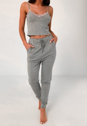 Missguided Grey Lace Trim Top And Joggers Pyjama Set