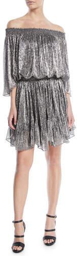 Halston Metallic Off-the-Shoulder Mini Dress