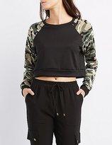 Charlotte Russe Camo Raglan Cropped Sweatshirt