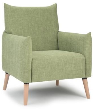 Brooklyn + Max Jarrod 29 inch Wide Mid Century Modern Accent Chair in Acid Green Linen Look Fabric