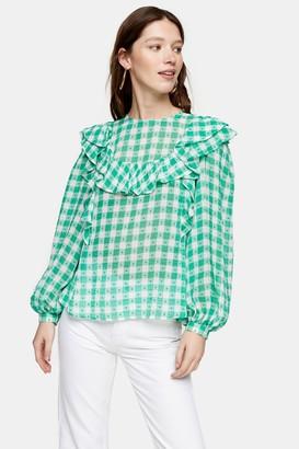 Topshop Womens Green Gingham Yoke Dobby Top - Green