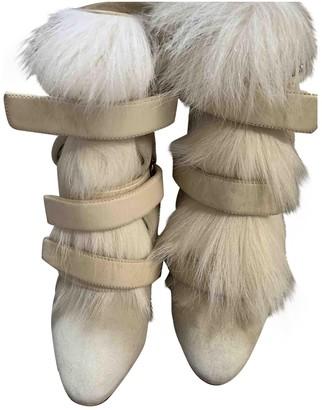 Isabel Marant Beige Fur Ankle boots