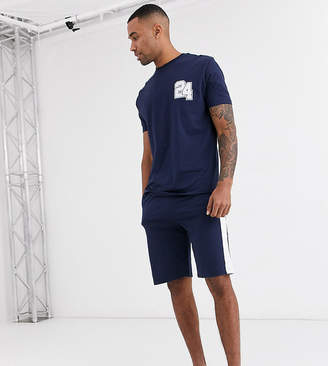 Asos DESIGN Tall lounge pyjama short and tshirt set with collegiate number and branded waistband