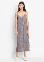 Vince Multi Floral Silk Pleat Neck Slip Dress