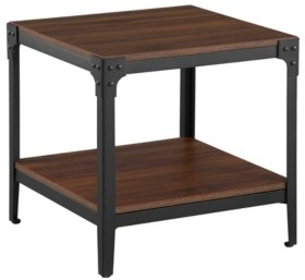 Walker Edison Rustic Wood End Side Table, Set Of 2