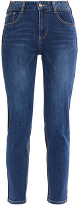 Sjyp Cropped Two-tone Mid-rise Slim-leg Jeans