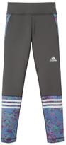adidas Granite & Blue Floral Player Leggings - Girls