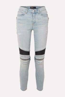 Amiri Mx2 Zip-embellished Leather-paneled High-rise Skinny Jeans - Light denim