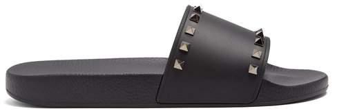 Valentino Rockstud Slides - Womens - Black