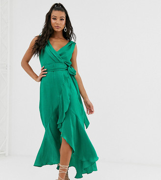 Flounce London wrap front satin midaxi dress in emerald green