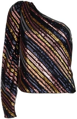 Self-Portrait Embellished Striped One-Shoulder Blouse