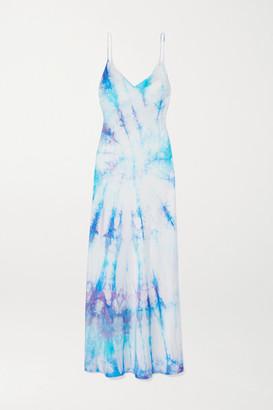 Dannijo Tie-dyed Silk-satin Midi Dress - Blue