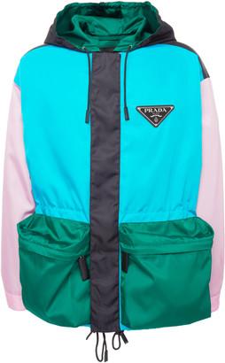 Prada Oversized Colorblock Nylon Hooded Jacket