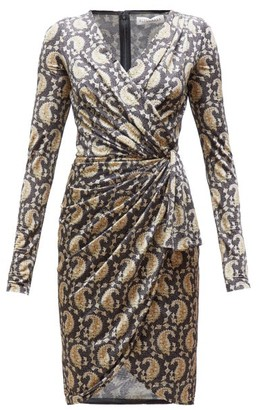 Altuzarra Louise Paisley-print Jersey Wrap-front Dress - Black Multi