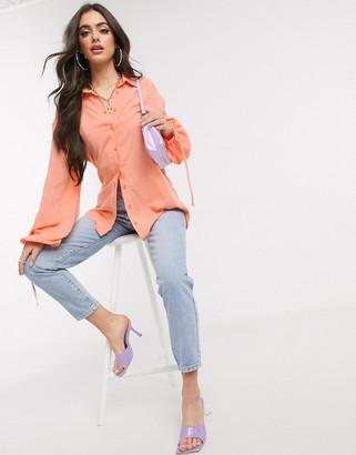 NA-KD longline balloon sleeve shirt in peach