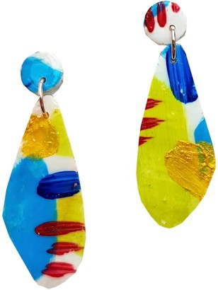 Abstract Bright Hand Painted Lightweight Clay Earrings - Stella