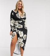 John Zack Plus plunge front wrap detail maxi dress in black floral print