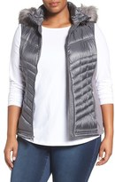 MICHAEL Michael Kors Plus Size Women's Embossed Mixed Media Down Vest With Detachable Faux Fur Trim Hood