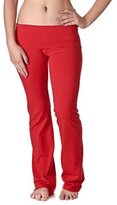 Hollywood Star Fashion Women's Slimming Foldover Bootleg Flare Yoga Pants (2XL, )