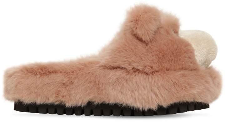 Dolce & Gabbana 30mm Faux Fur Bear Slide Sandals