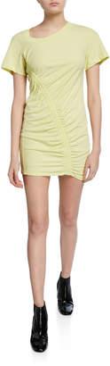Alexander Wang Short-Sleeve Asymmetric Ruched T-shirt Dress