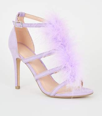 New Look Feather Trim Caged Stiletto Heels