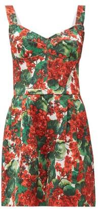 Dolce & Gabbana Geranium-print Cotton-blend Brocade Playsuit - Red Multi