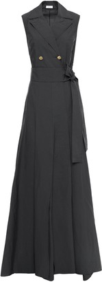 Brunello Cucinelli Pleated Button And Bow-embellished Cotton-blend Poplin Gown