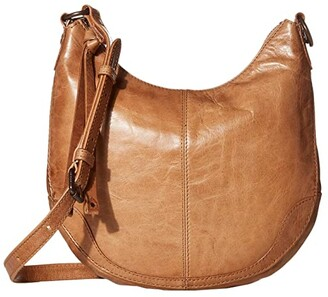 Frye Melissa Small Scooped Hobo Crossbody (Beige) Handbags