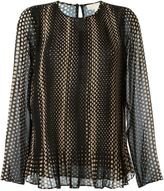 MICHAEL Michael Kors dot print longsleeved blouse - women - Polyester/Cotton - XL