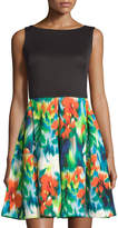 Taylor Sleeveless A-Line Dress, Turquoise Multi