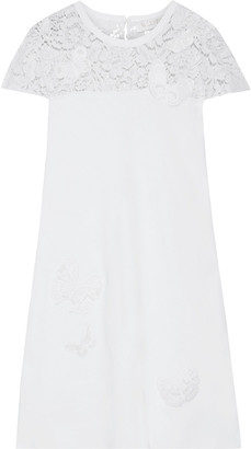Valentino Appliqued Corded Lace-paneled Ponte Mini Dress