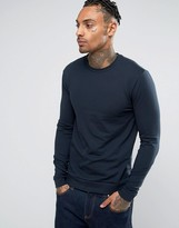 Asos Muscle Sweatshirt In Navy