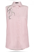 Quiz Pink Stripe Embroidered Sleeveless Top
