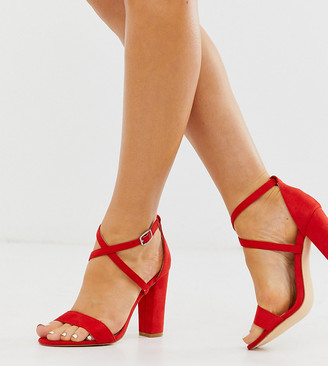 Glamorous Wide Fit cross strap block heeled sandals-Red