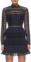 Self-Portrait Self Portrait High Neck Star Lace Panelled Dress Navy